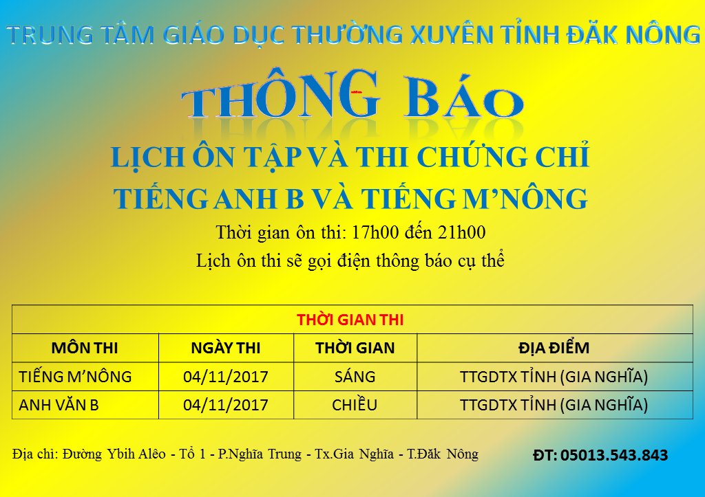 lich thi chung chi