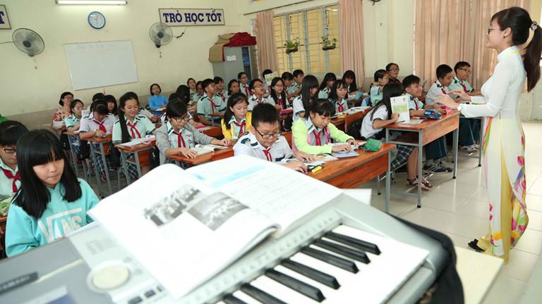 Một tiết học môn âm nhạc tại TP.HCM. Theo Bộ GD-ĐT, chỉ 50% trường tiểu học tại TP này có giáo viên nghệ thuật /// ĐÀO NGỌC THẠCH