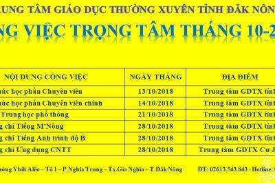 CÔNG VIỆC TRỌNG TÂM THÁNG 10 NĂM 2018