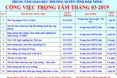 CÔNG VIỆC TRỌNG TÂM THÁNG 3 NĂM 2019