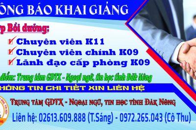 Thông báo Khai giảng Lớp Bồi dưỡng kiến thức Quản lý nhà nước ngạch chuyên viên K11, chuyên viên chính K09 và lãnh đạo cấp phòng K09