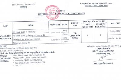 Lịch thi hết học kỳ lớp K5A2-LTTC-QLTNR-GN