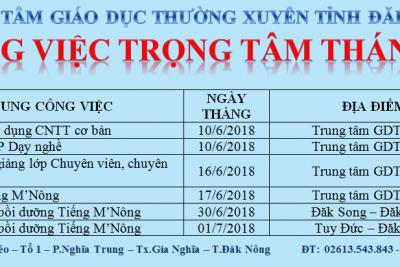 CÔNG VIỆC TRỌNG TÂM THÁNG 6 NĂM 2018