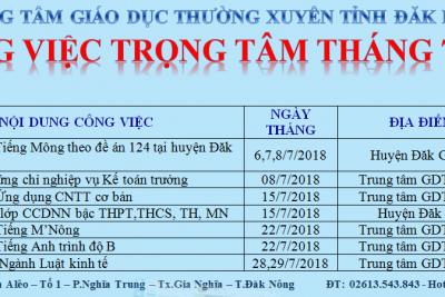 CÔNG VIỆC TRỌNG TÂM THÁNG 7 NĂM 2018
