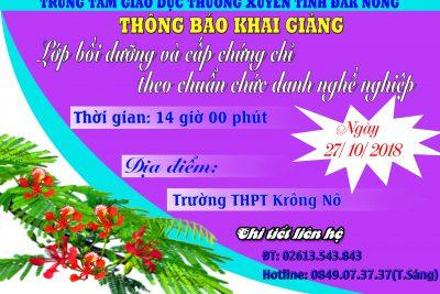 Thông báo khai giảng lớp bồi dưỡng chuẩn chức danh nghề nghiệp bậc THPT tại huyện Krông Nô