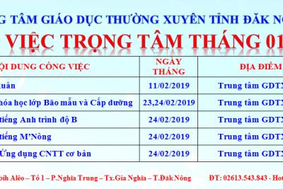 CÔNG VIỆC TRỌNG TÂM THÁNG 02 NĂM 2019