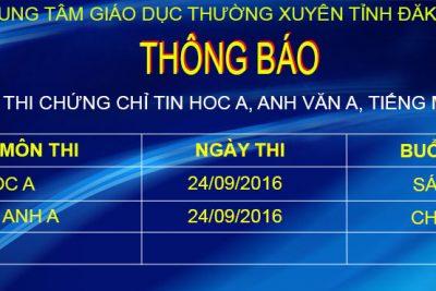 Thông báo lịch thi chứng chỉ Tin A, Anh văn A ngày 24/09/2016