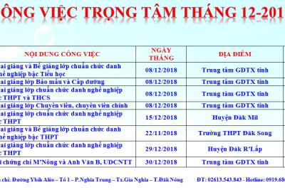 CÔNG VIỆC TRỌNG TÂM THÁNG 12 NĂM 2018