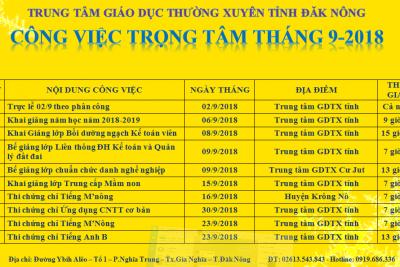 CÔNG VIỆC TRONG TÂM THÁNG 9 NĂM 2018
