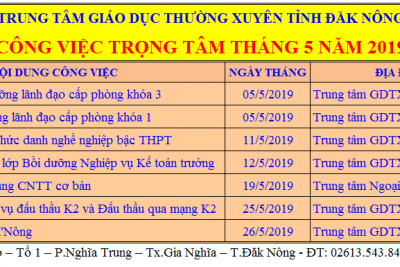 CÔNG VIỆC TRỌNG TÂM THÁNG 5 NĂM 2019
