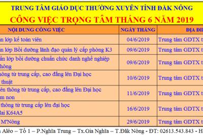 CÔNG VIỆC TRỌNG TÂM THÁNG 6 NĂM 2019