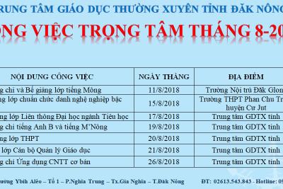 CÔNG VIỆC TRỌNG TÂM THÁNG 8 NĂM 2018