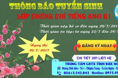 THÔNG BÁO KẾ HOẠCH ÔN TẬP VÀ THI TIẾNG ANH B1, THÁNG 7/2017