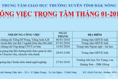 CÔNG VIỆC TRỌNG TÂM THÁNG 01-2018
